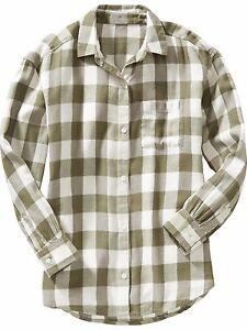 NWT Old Navy Girls Plaid Flannel Boyfriend XS(5) or S(6-7) Green White Top Shirt