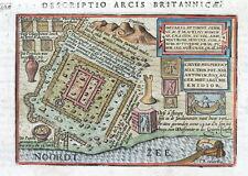 KATWIJK, NETHERLANDS, ROMAN CITY, BERTIUS. original hand col. antique map 1606