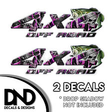 Pink Skull Camo Bass 4x4 Wraps Off Road Decals 2 Pk Sticker Ford Chevy - D&4BF