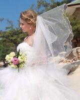 Schleier Brautschleier 2 Lagen WEIß / IVORY Perlen Hochzeit Braut NEU Webkante