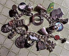 """50-60's Vintage Sterling Silver Charm Bracelet & 24 Charms,7.5"""", 68 gr, LOADED"""