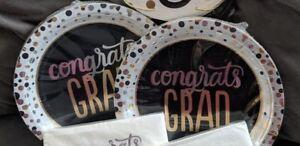 """Spritz Congrats Grad 9"""" Plates, White,Gold, Black, & Silver ~ (2) 30 Count"""