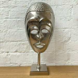 Metal Silver African Tribal Face Mask Sculpture Decoration Ornament On Stand New