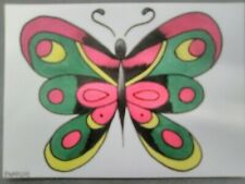 Butterfly ORIGINAL TATTOO art COLOR flash animal nature traditional old school