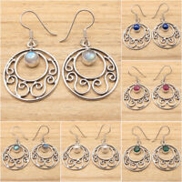 925 Silver Plated Made In India Modern Earrings, Round Gemstone Jewelry