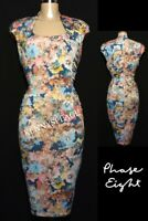 PHASE EIGHT Floral Wiggle Bodycon Dress UK16 *WORN ONCE* Stretch, Ruched Sides