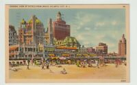1940 Postmarked Postcard View of Hotels from Beach Atlantic City New Jersey NJ