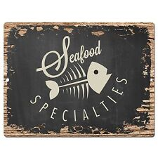 PP0404 Rust SEAFOOD Sign Store Shop Bar Cafe Restaurant Home Kitchen Wall Decor