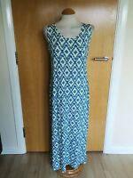 Ladies M&S Dress Size 12 Teal Pale Yellow Stretch Long Maxi Casual