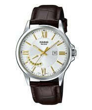 Mtp-e125l-7a White Casio Men's Watches Genuine Leather Band 50m Date Display