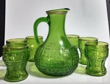 Vtg 7 Pc Green Glass 56 Oz Pitcher Set Made in Italy Embossed Floral Medallions