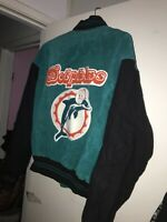 Miami Dolphins Jacket Varsity Letterman G-III Carl Banks Suede Leather Big Logo