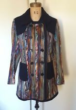 Moon Collection yarn woven coat pea coat jacket striped multicolored navy M