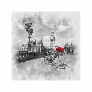 Roses in a Bicycle Basket at London's Westminster Bridge Art Wall Decor Print 2