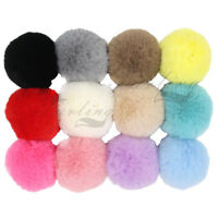 Set of 12 Faux Rex Rabbit Fur Pom poms Ball for Basket Blanket Hat DIY Accessory
