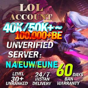 NA EUW EUNE League of Legends Account LOL Unranked 40K 50K 60K 70K 80K BE Smurf