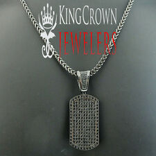 MENS ICED OUT BLACK DOG TAG CHARM STAINLESS STEEL FRANCO NEVER TARNISH CHAIN SET