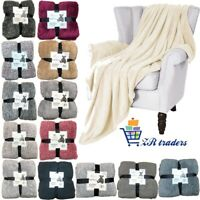 Double Soft Warm Fleece Cuddly Teddy Throw Sofa Bed Camping Blanket 150 x 200 Cm