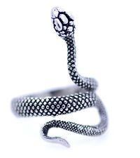 Vintage style antique silver coloured snake ring, UK Size Q