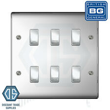 BG Polished Chrome Custom Grid Switch Panel Labelled Kitchen Appliance 6 Gang