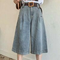 Women High Waist Denim Pants Jeans Wide Leg Palazzo Shorts Culotte Fashion Loose
