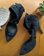 La Fenice women's 7 black suede ruffle altuzar heel pump tie back slip on Anthro