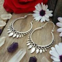 Tribal Silver Brass Earrings Gypsy Hoop Ethnic Festival Jewellery Indian Boho