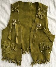 Vintage Green Suede Leather Child's Cowboy/Cowgirl Vest w/ Fringe/Studs Western