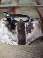COACH Signature Stripe Carryall Purse Bag Clutch brown and beige