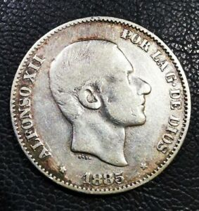 SPAIN-PHILIPPINES 32: 1885 ALFONSO XII 50 CENTAVOS