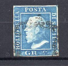 ANTICHI STATI 1859 SICILIA 2 GR. AZZURRO I° TAVOLA POSIZ. 86 D/9943
