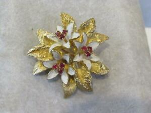 Vintage 18 Kt Yellow Gold & Ruby Flower Pin / Brooch
