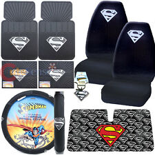 Super Man Shield Logo Car Seat Covers Accessories Complete Windshield 9pc Set