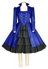 STUNNING GOTHIC VICTORIAN STEAMPUNK PLUS  DRESS!  BLUE & BLACK OR BLACK