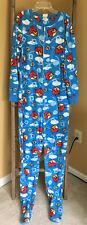 Angry Birds One Piece Long Sleeve  Footed Fleece Pajama Sleep Blue Size Large