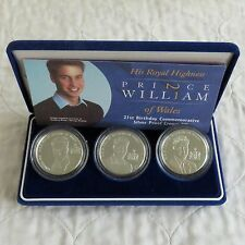 2003 PRINCE WILLIAM 3 x £5 CROWN SILVER PROOF BIRTHDAY SET - boxed/coa