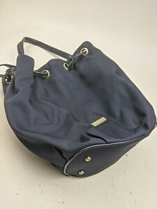 Kate Spade Blue Nylon And Patent Leather Drawstring Bucket Tote Bag