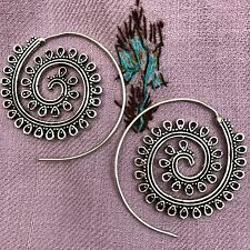 Silver Plated Ribbon Tribal Spiral Earrings
