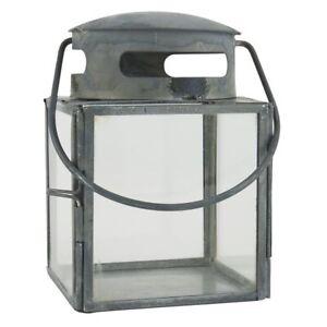 Small Glass & Metal Grey Lantern by Ib Laursen