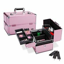 "Makeup Train Case 14.5"" Professional Cosmetic Organizer Box Removable Dividers"