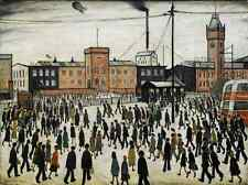 LS Lowry Going To Work 1943 Painting Art Poster Reprint A4
