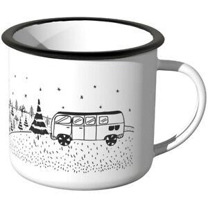JUNIWORDS Emaille-Tasse, Camping bei Nacht, Campingurlaub Camper Essgeschirr