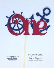 ONE 1st BIRTHDAY NAUTICAL ANCHOR SHIPS WHEEL LAYERED CARD CAKE TOPPER. BLUE RED