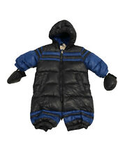DIESEL BABY BOY GIRL WINTER ONE PIECE HOODED SNOWSUIT NAVY BLUE 6-9 Months