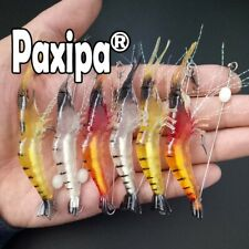 6x Luminous Fishing Lure Bait Artificial Shrimp Lures Soft Plastics Hook 9cm 6g