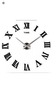 Modern 3D DIY Large Roman Numerals Mirror Wall Sticker Clock Home Office Decor