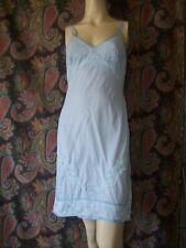 Vintage Blue Lacy Silky Nylon Empire Slip Nighty Lingerie 34