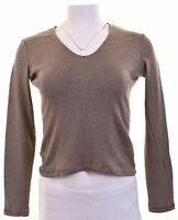 ARMANI JEANS Womens Top Long Sleeve UK 12 Medium Brown Striped Cotton  EE10