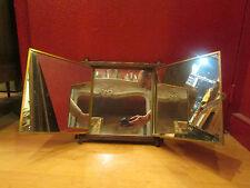 RARE ancien miroir glace triptyque decor japonisant ep 1910 cadre laiton bambou