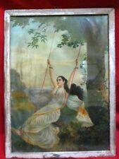 Vintage Collectible Ravi Verma German Print Village Lady Print Swing Woman Print